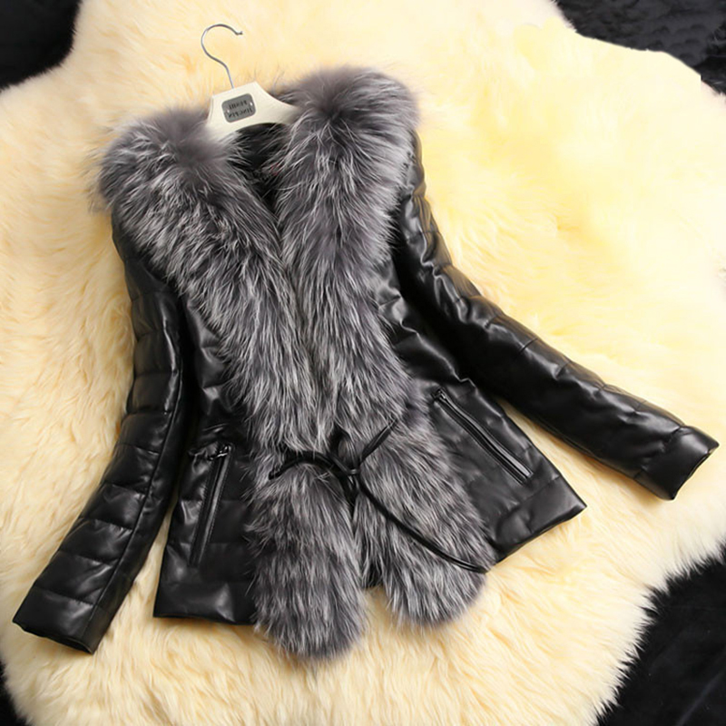 2019 Autumn Winter Coat Warm Long Sleeve Faux Fur Coat PU Leather Fur Jacket underwear Plus Size 5X Black manteau femme hiver