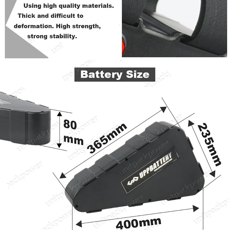 Perfect ebike 48V 52V 1000W Triangle Plastic case Battery 20Ah 15ah lithium battery pack for Bafang tsdz2 Electric bicycle kit with USB 4