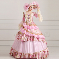 European Vintage Court Dress Halloween Fancy Dress Make Up Party Cosplay Clothing Queen Uniforms Formal Event Dress