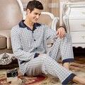Conjuntos de pijama para homem primavera 2017 nova moda outono masculino sleepwear-manga longa definir plus size pai salão