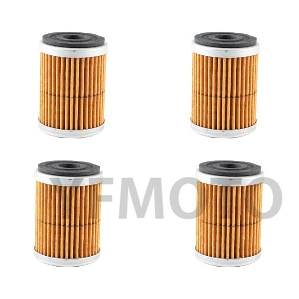 4 Pcs Motorcycle Oil Filter For YFM350 FX-H,J,K,L,M,N,P,R,S,T Wolverine 4x4 96-05 YFM350 R-T,V,W,X,Y,Z,A,B,D Raptor 05-13