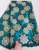 Top Grade Latest Gold African Handcut Organza Lace Nigeria Garden Sewing Lace Fabric With Lots Of