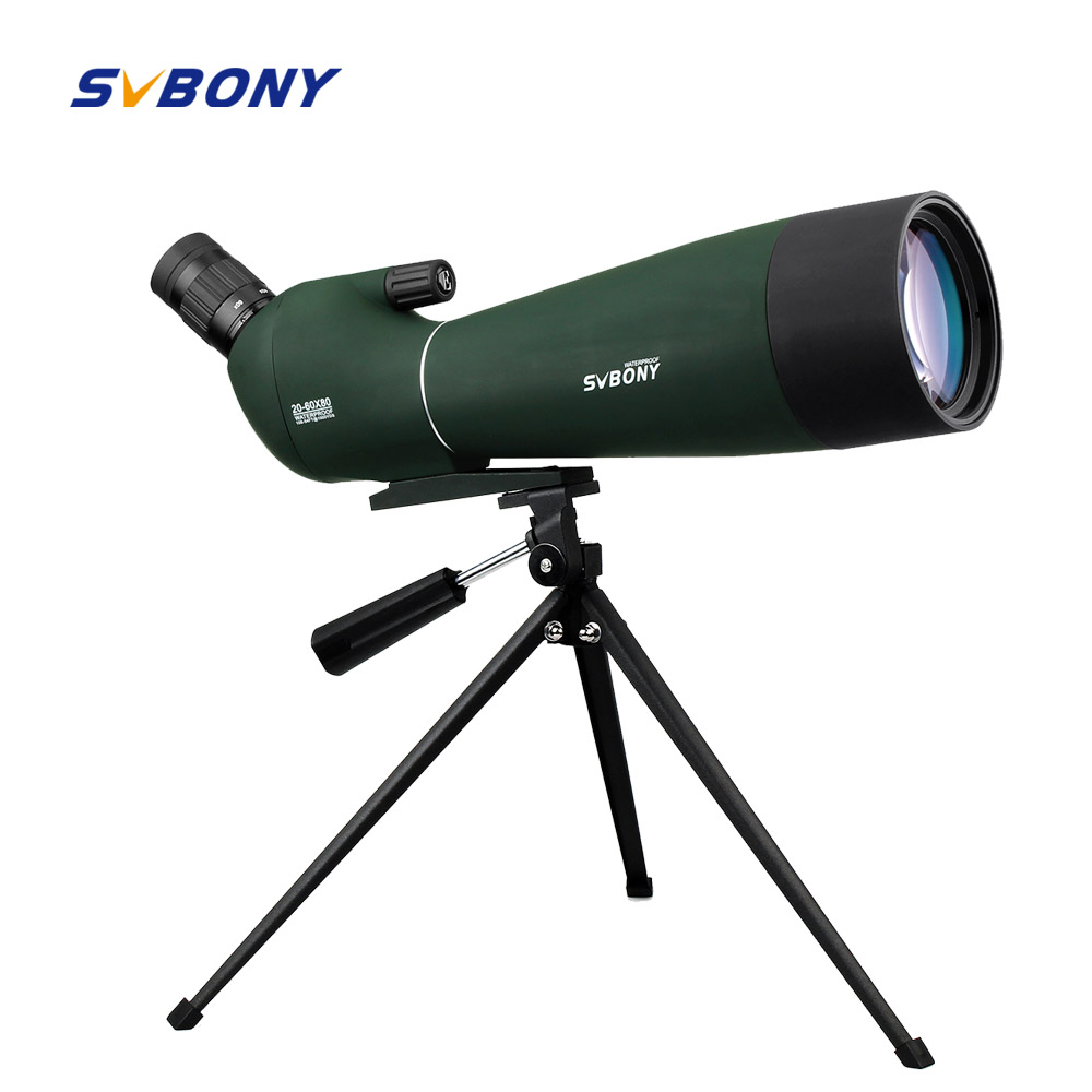 SVBONY Зрительная труба 20-60x80mm зум Водонепроницаемый BAK4 угловой стрельба из лука w/штатив Birdwatch Монокуляр телескоп F9308