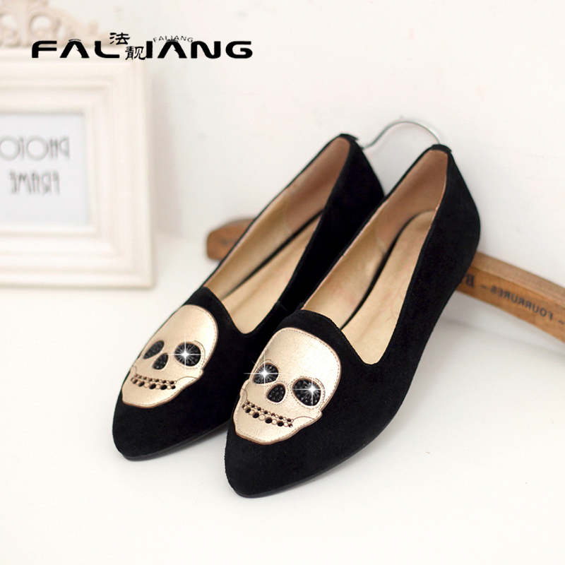ФОТО Free shipping Plus Size 35-42 2014 new autumn fashion black purple PU leather women shoes pointed toe Rhinestone ballerina flats