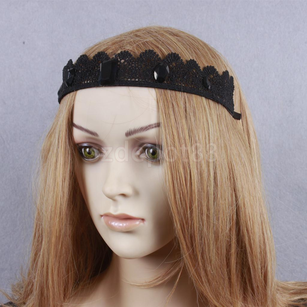 Women girls black lace vintage elegant wide flower headband crown aeproducttsubject izmirmasajfo