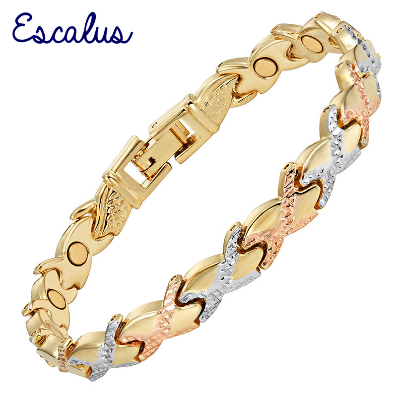 7457d1036ce7 Escalus Cruz fiesta damas joyería magnética pulsera para mujer imán Color  oro enlace cadena pulseras del encanto de la pulsera