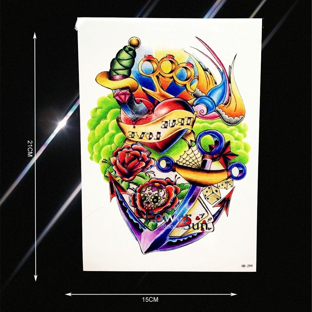 Water Transfer Fake Tattoo Anchor Sword Heart Blood Design