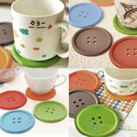 5Pcs Cute Colorful Silicone Button Coaster Cup Cushion Holder Drink Placemat Mat Home 01TL 3TPD