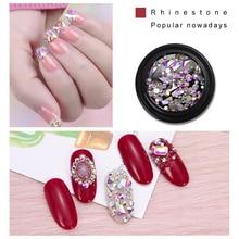 8 Styles Nail Art Rhinestones AB Color White Silver Flat Bottom Rhinestone Shiny Crystal Glass NDQ01