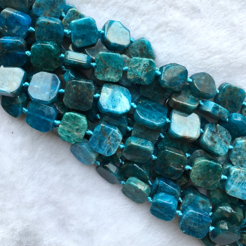 цена на Natural Genuine Raw Mineral Green Blue Apatite Flat Squre Cube Smooth Beads Fit Jewelry 05636