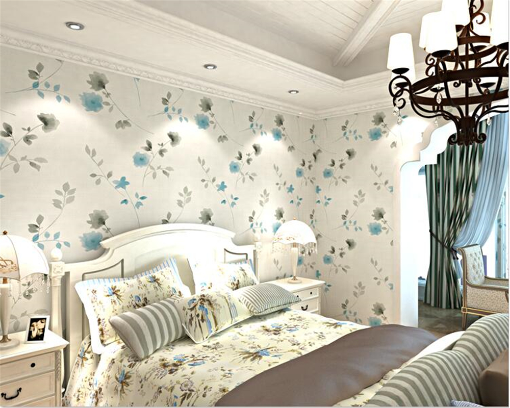 beibehang Nordic Romantic Pastoral Nonwoven 3d Wallpaper Bedroom Guest House TV Background Wall Modern Fashion Wall paper tapety beibehang custom silk screen wall paper fashion beautiful three dimensional flowers european tv background 3d wallpaper tapety