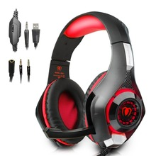 Beexcellent GM-1 3.5mm Game Gaming Headphone LED Light Over-Ear Headset With Volume Control Microphone For Laptop Mobile Phones
