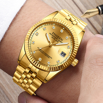 FNGEEN Watch Men Fashion Business Rhinestone Male Clock Men's Quartz Gold Watches Top Brand Luxury Waterproof Date Wrist Watch