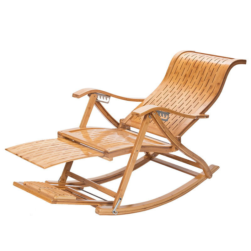 Adult Household Lounge Chair Chinese Foldable Bamboo Stable Rocking Chair with Footrest Adjustable Old People Lunch Break Chair