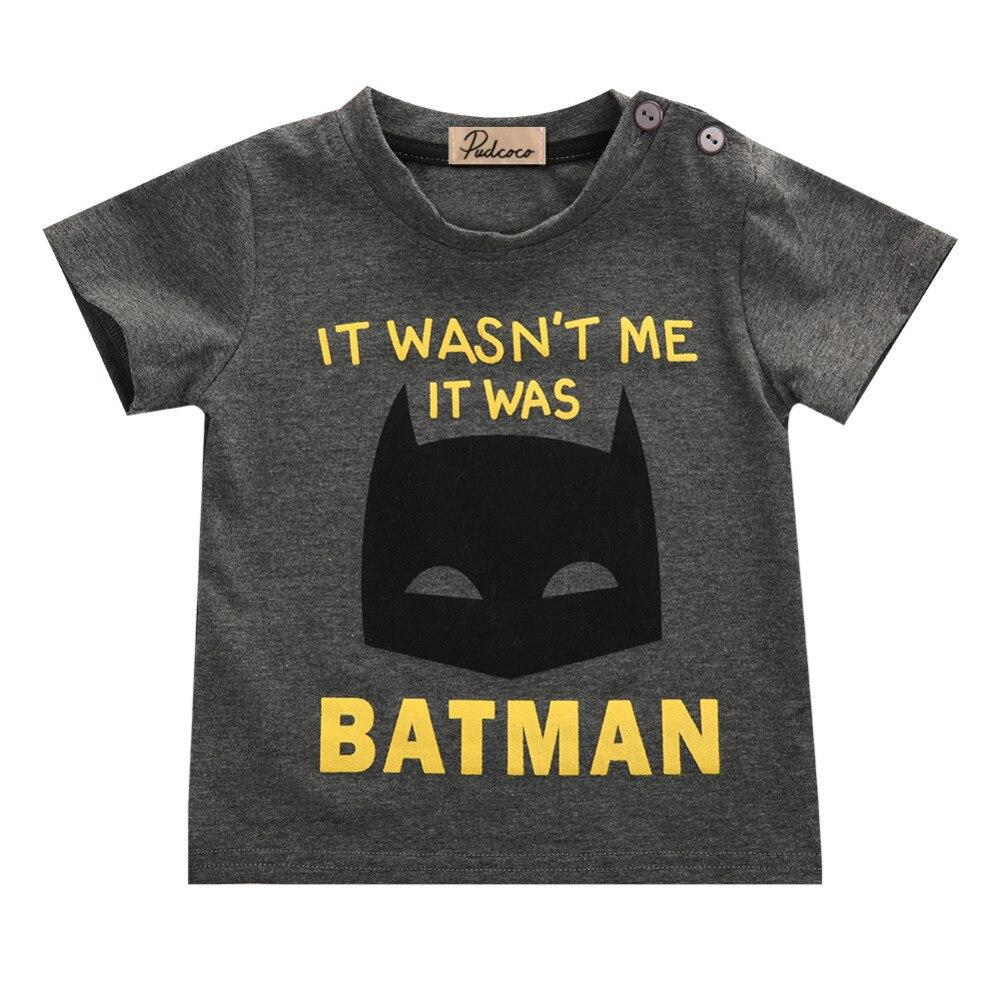 2016 New Baby Boys Clothes Fashion Cool Batman Kids Short Sleeve Summer T-Shirt