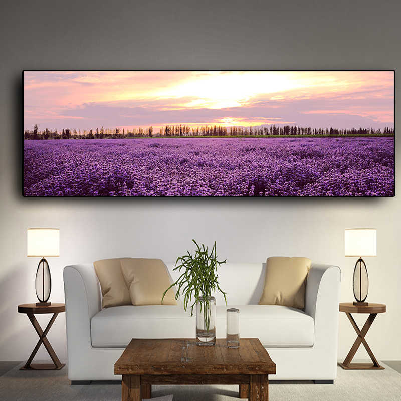 Lavender Sunset Nordic Landscape Posters and Prints Canvas Painting Flower Scandinavian Wall Art Picture for Living Room Decor