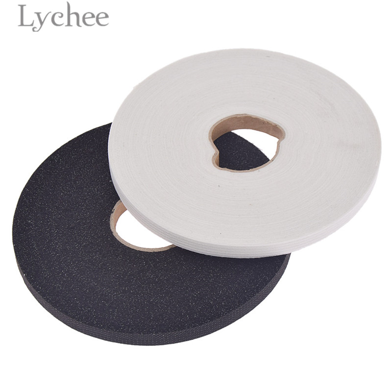Lychee Life 100m 1cm Width Adhesive Interlinings White Black Fabric Iron On Single-sided Sewing Material For Garemets