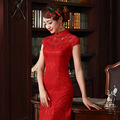 Chinese traditional dress high-end wedding cheongsam long tail red Chinese bride toast dress roupas femininas vestido de festa