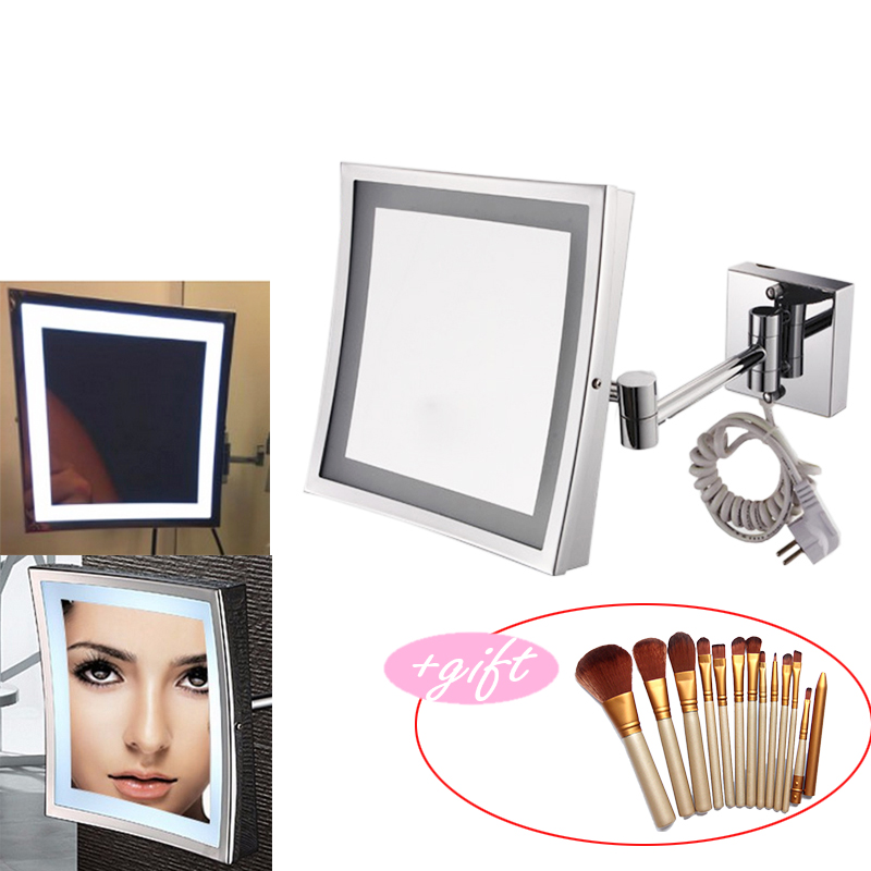 New 8.5 Inch LED Light Wall-mounted folding cosmetic mirror 3X Magnifying LED Makeup Mirror bathroom mirror with 12pcs brush professional 8 inch led light wall mounted folding cosmetic mirror 5x magnifying led makeup mirror bathroom mirror for gift