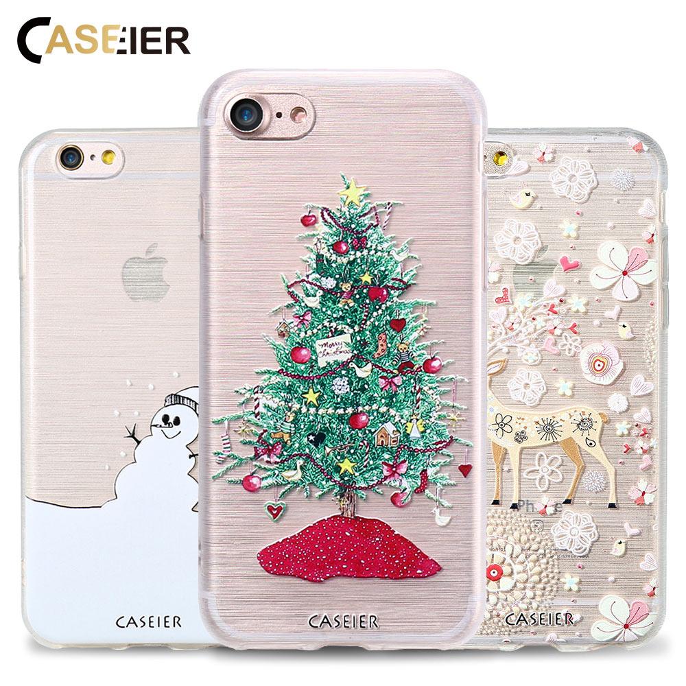 CASEIER Caixa Do Telefone Para o iphone 6 6s 7 8 Plus Feliz Natal Shell macio TPU Shell Para o iphone 5 Casos 5S SE X inverno Funda Capinha