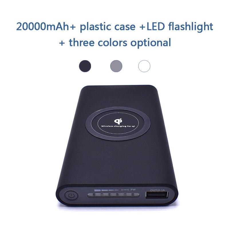 20000 mah batería externa del Banco de potencia de carga rápida banco de energía inalámbrico de cargador de teléfono móvil portátil para Samsung iPhone 8 plus X
