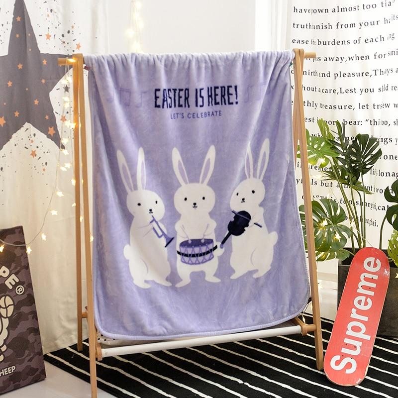 Violet Cartoon blanc lapin motif hiver laine couverture furet cachemire couverture chaude couvertures polaire chaud doux jeter sur canapé-lit