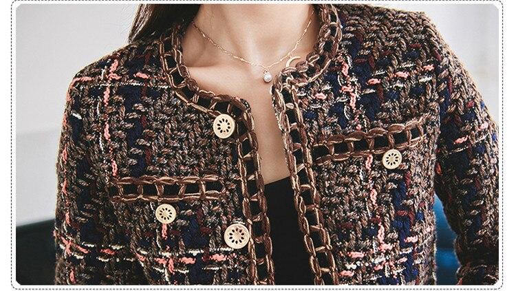 Minijupe Hiver Robe Tweed Pièces Ensemble Unique De Poche Manteau 2019 Laine Jeu Piste Femmes Costumes Marron Veste Poitrine Plaid 2 Zarachiel EwaHqvxIc