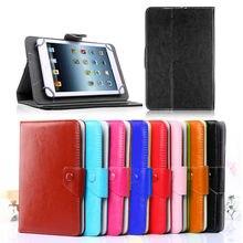 Para alcatel onetouch pixi 7 pu funda de piel cubierta del soporte para 7.0 pulgadas android tablet universal bolsas de 10 colores