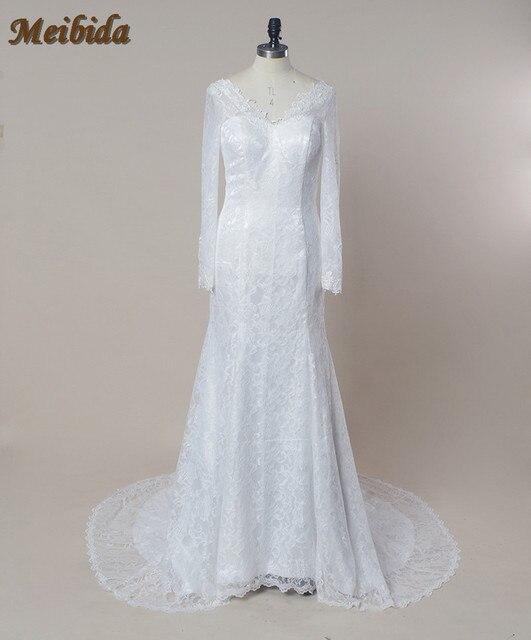 3a4e33558 Off Shoulder Vintage Long Sleeve Lace Appliques Ivory Sexy Backless Wedding  Gowns Cheap Mermaid Wedding Dress vestido de noiva