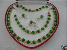 real Women's Wedding green gem stone necklace bracelet earring ring set silver-jewelry(China)