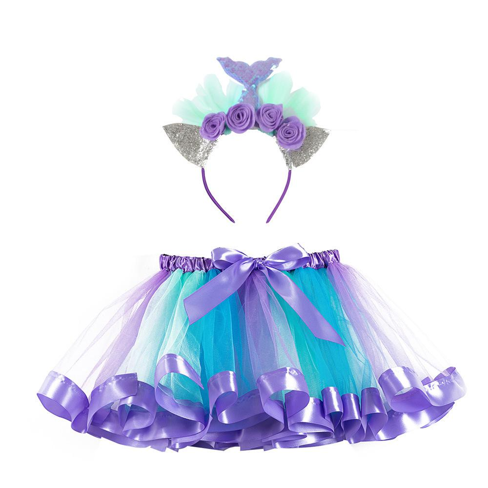 2019 Pastel Unicorn Tutu Skirt With Flower Headband Children Bustle Birthday Party Tulle Tutu Skirts For Photos Kids Costume Set