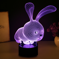 Lovely 3D Rabbit Shape Lamp LED Atmosphere Light Lamp With Switch Button Lamp As Children Holiday