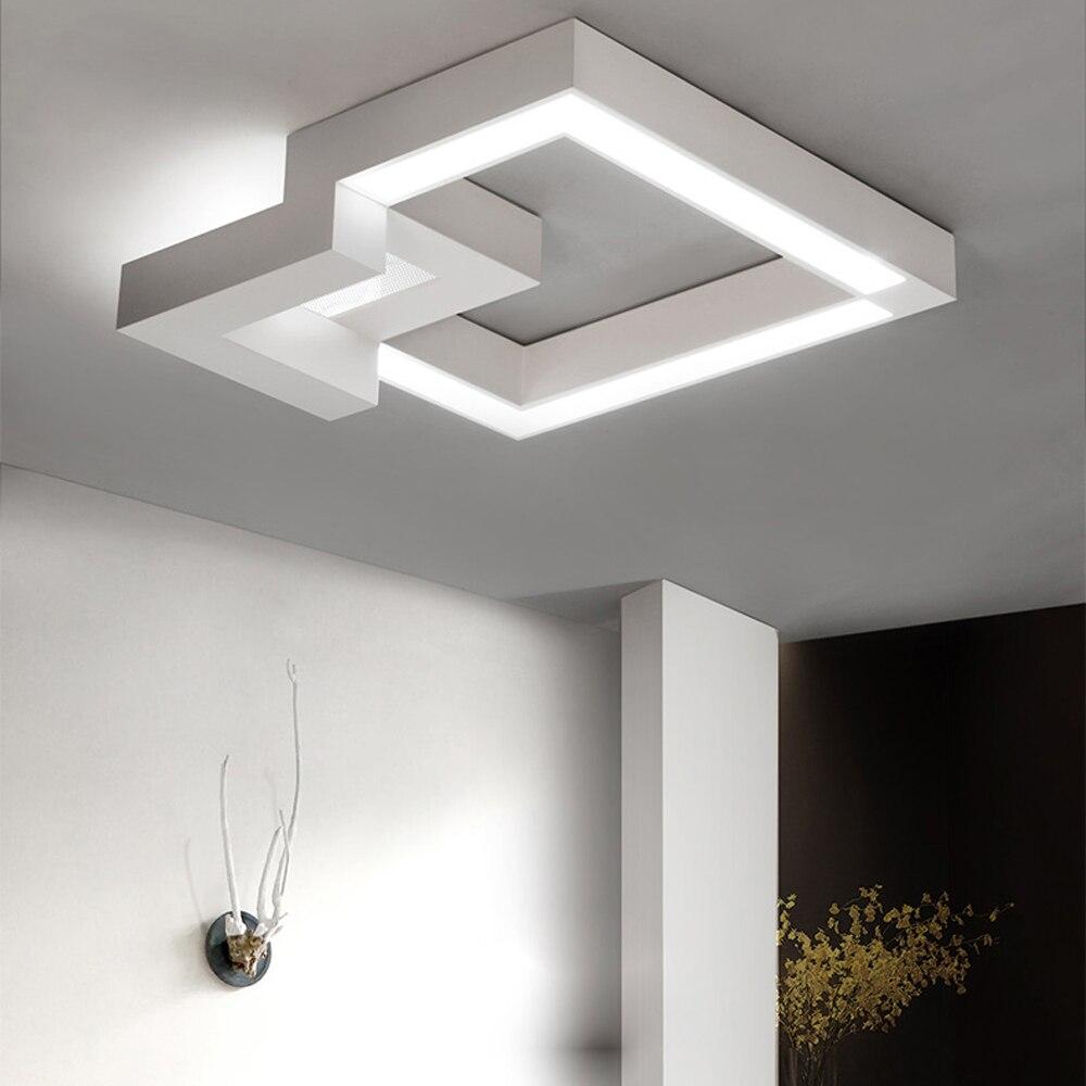 LED Moderne Géométrique Fer Acrylique Noir Blanc Lampe LED LED