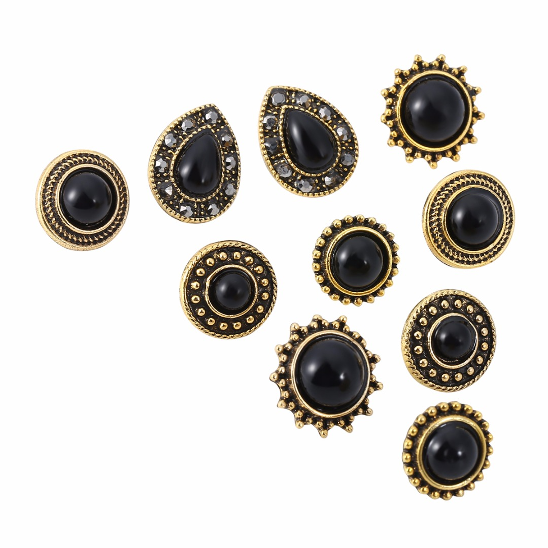 3653acbcbf9 Shellhard Black Gem Stone Ear Studs Earrings 5 Pairs set Charming Oval  Round Bead Earring