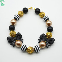 Girls Black Bow Necklace Kids Gold Chunky Bubblegum Bead Necklace For Toddler Jewelry Dress Up