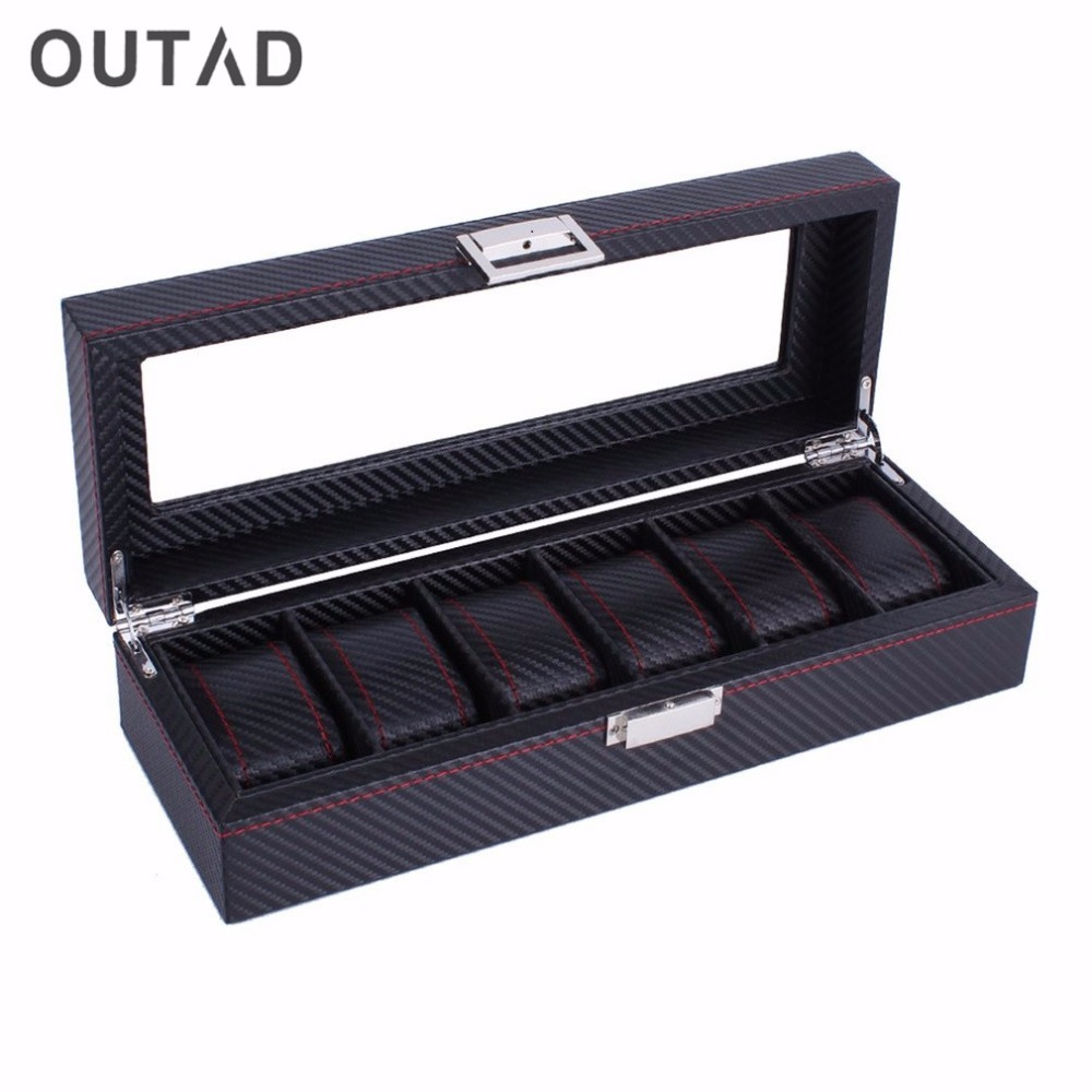 OUTAD 6 Slots Carbon Fiber Fashion Watches Box Casket Jewelry Display Storage Organizer Striped Durable Leather Case Gift 1pcs package capping station for epson 7600 9600 solvent based ink printer
