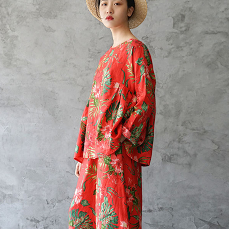 shirts Spring New Fashion O Style Women Pleated Loose T Linen National neck Vintage Tops Johnature Picture As Pullover 2019 Print OYnw5qn40