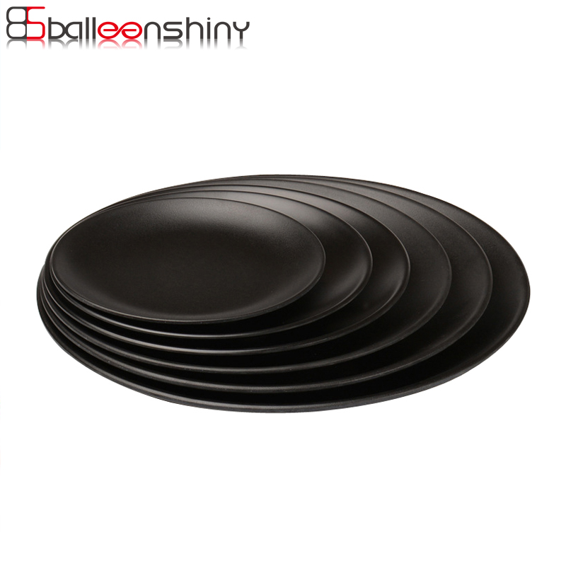 BalleenShiny שחור מלמין עגול מגש ארוחת ערב - מטבח, פינת אוכל ובר