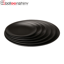 BalleenShiny Black Melamin Round Tray Teller Gerichte Snacks Snacks Sushi Steak Teller Essen Dessert Tee Tablett Geschirr