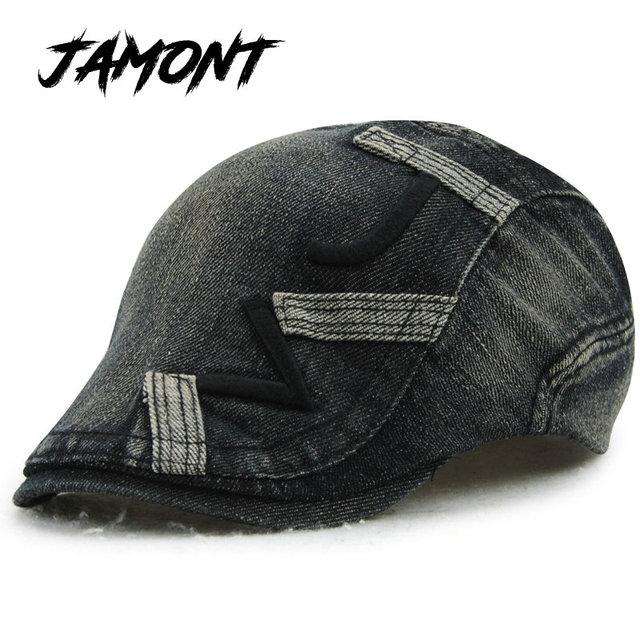 brand new 40fc9 bca53  JAMONT  Cotton Gorras Planas Male Beret Golf Driving Sun Flat Cap Hat For  Women Couple Visors denim Casquette Boina Masculina
