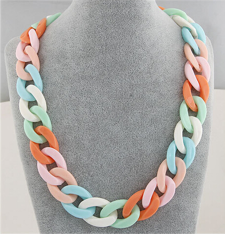 Баяндама Chunky Long Chain Necklaces For Women Boho Colorful Plastic Chain Choker Necklaces Pendants Fashion Әйелдер зергерлік бұйымдары
