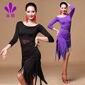 Señora Bonito Traje de Las Mujeres de Baile Latino Rumba Samba Dance Dress Girls Hombro Oblicuo Flecos Traje de Más Tamaño Promoción B-4293