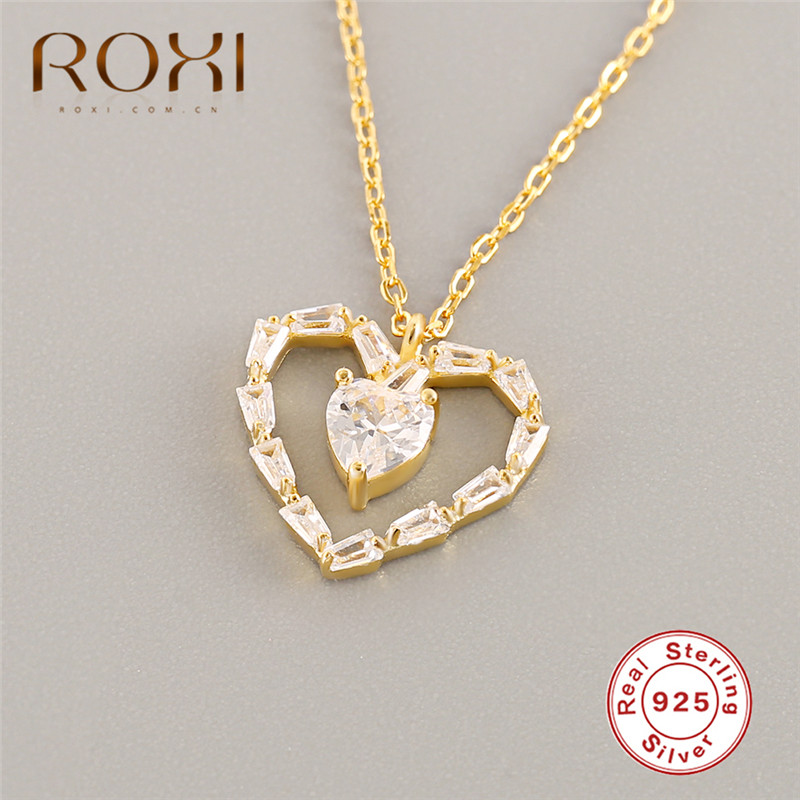 ROXI 925 Sterling Silver Love Heart Necklaces Pendant Gold Hollow Zircon Crystal Necklace for Women Fashion Jewelry Kolye Gift in Pendant Necklaces from Jewelry Accessories