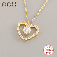 ROXI 925 Sterling Silver Love Heart Necklaces & Pendant Gold Hollow Zircon Crystal Necklace for Women Fashion Jewelry Kolye Gift