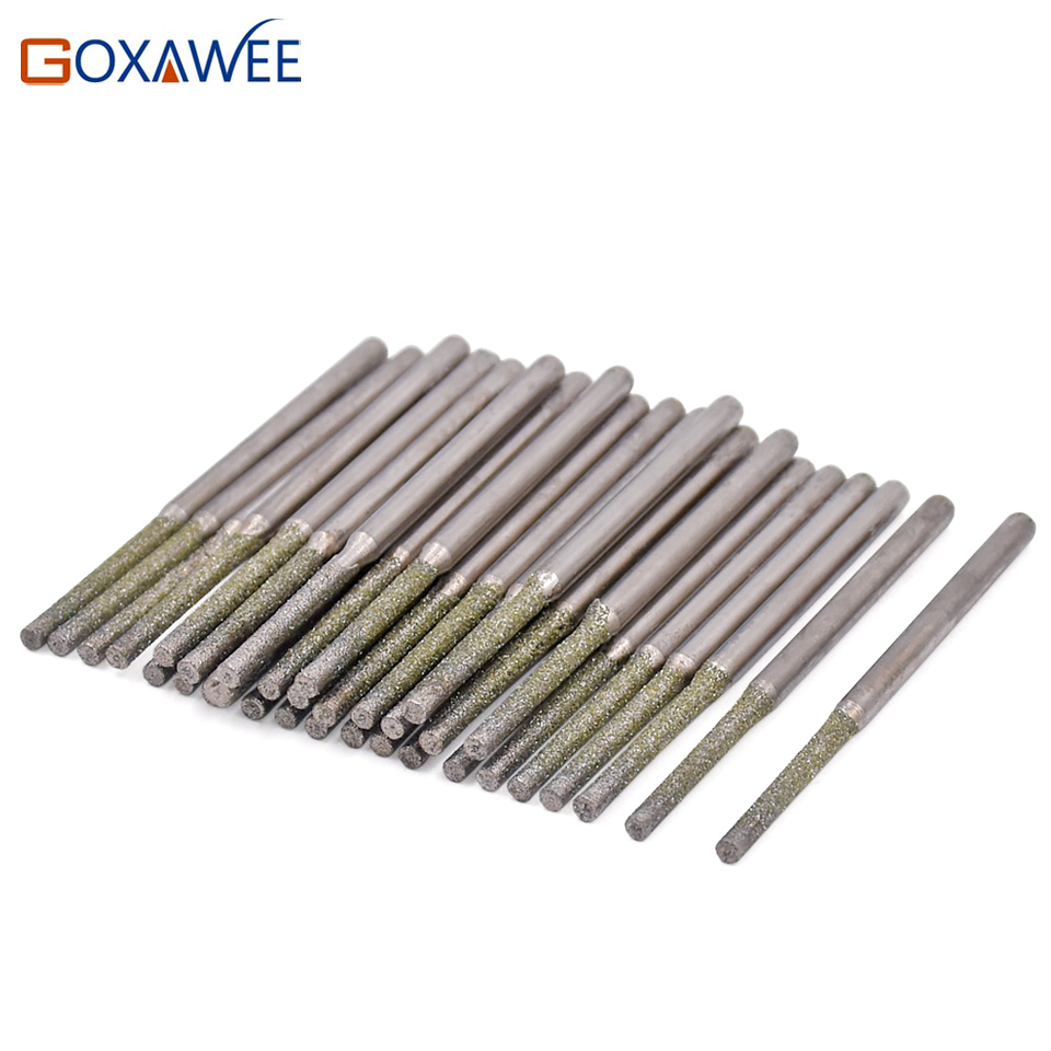 GOXAWEE 10pcs Drill Bits 0.8,1.0,1.2,1.5,1.8mm Diamond Coated Solid Diamond Drill Bits for Dremel Rotary Tools Accessories cnbtr 10pcs 3 48mm diamond coated hole