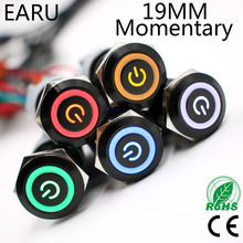 1pc 19mm Black Waterproof Momentary Stainless Steel Metal Push Button Switch Colorful LED Light Horn Car Auto Engine Power Start