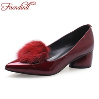 FACNDINLL new 2018 fashion women pumps square high heel pointed toe real fur black wine red shoes woman dress party office shoes