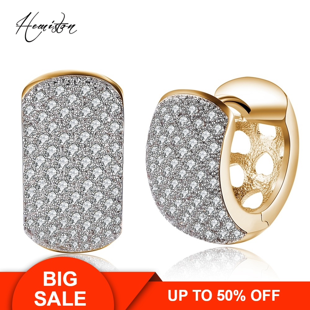 Wide Full Paved Clear CZ Creole Earring, Yellow Gold Plated European Romantic Jewelry Gift For Women TF 134E