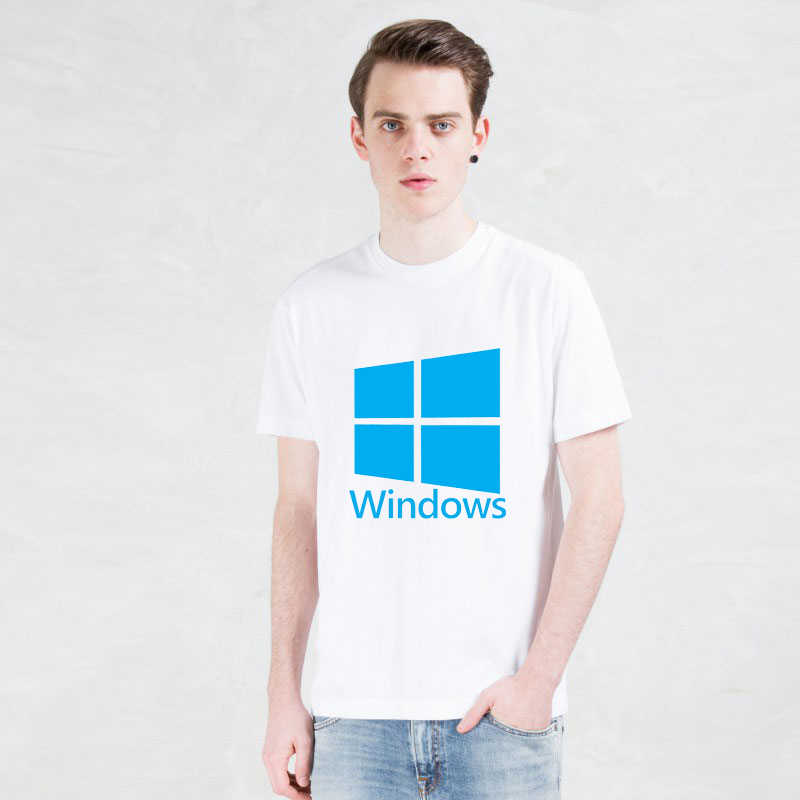 printed Windows Google T-shirts Personality Microsoft t shirt Funny Short Sleeve Internet explorer men Tshirts 2019 New Fashion