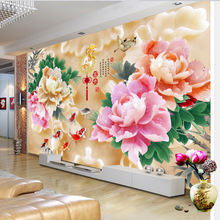 Customized wallpaper mural Chinese style 3D natural scenery with peony flower jade carving behind sofa as background livingroom